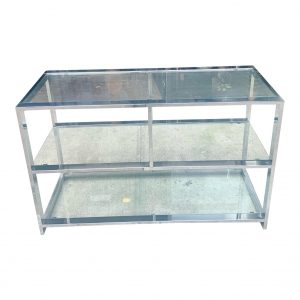 1970s Design Institute of America Chrome and Glass Low Etagere