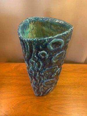 Large Highly Figured Studio Ceramic Vase