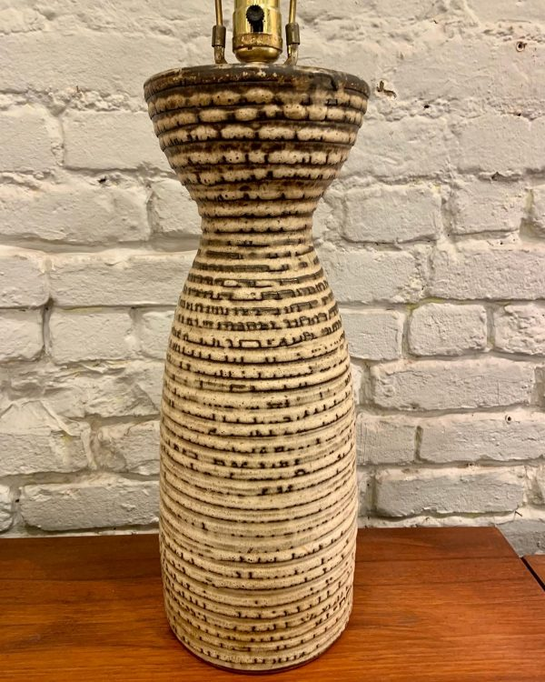 Large Ribbed Ceramic Design Technics Table Lamps by Lee Rosen
