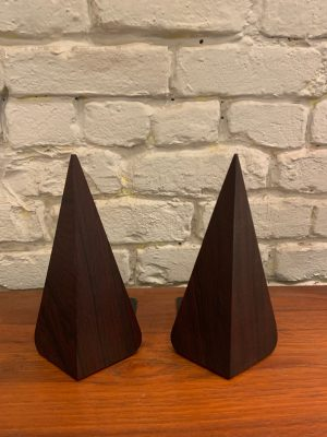 Pair of Elongated Pyramid Rosewood Bookends