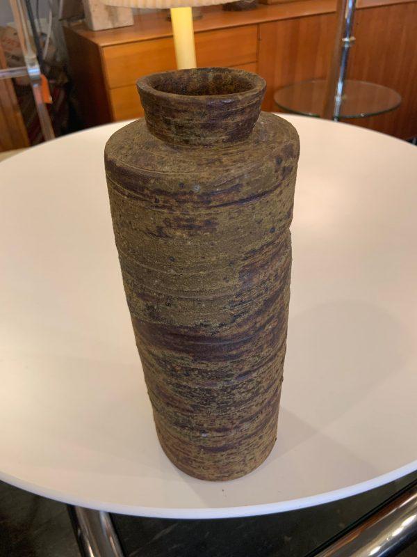 Tall Cylinder Vase with Borax Glaze Finish