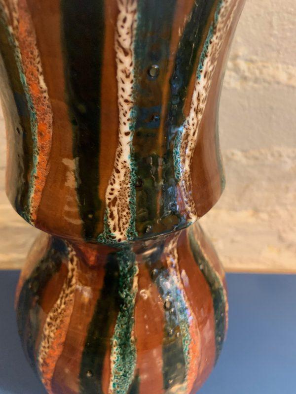 Large Ceramic Studio Vase with Stripes