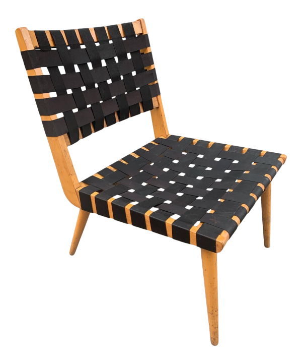 1950s Vintage Wood Frame Webbed Lounge Chair