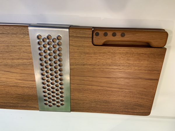 1970s Richard Nissen, Denmark Teak Fish/Bread Board With Knife- 2 Pieces