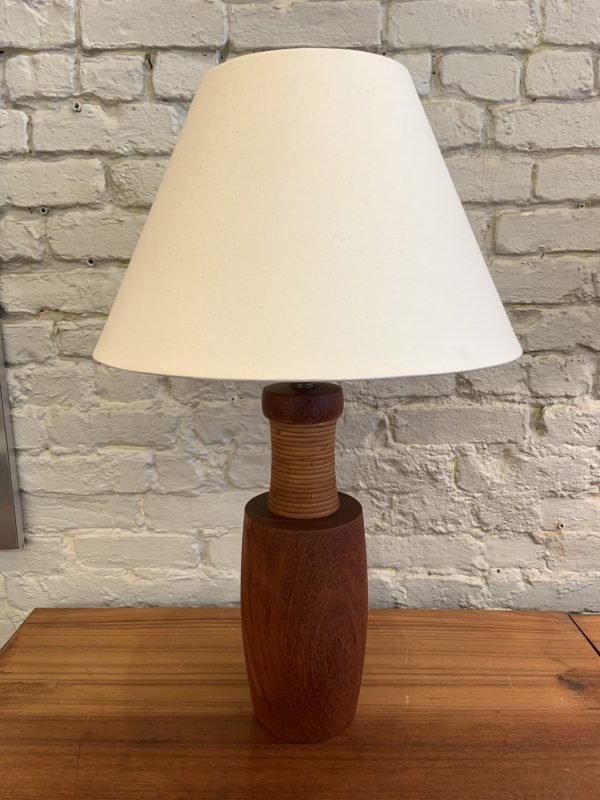 1960s Turned Teak and Cane Table Lamp by Esa Denmark