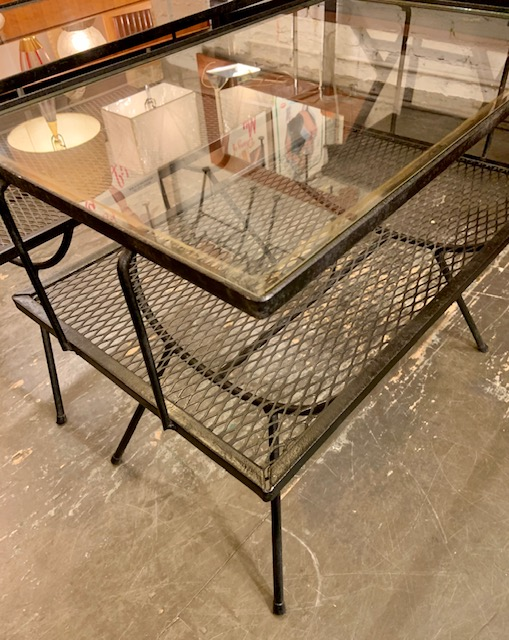 Pair of 1950's Two Tiered Iron & Glass Side Tables